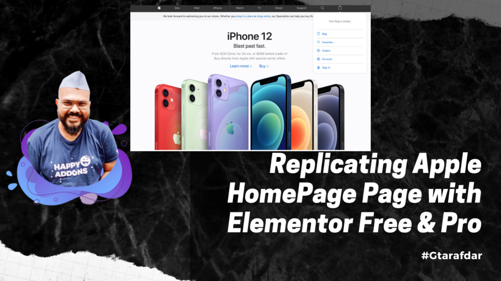 Replicating Apple HomePage Page with Elementor Free & Pro